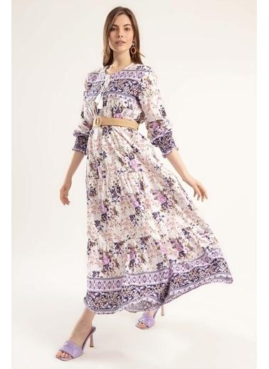 Pattaya Pattaya Kadın Çiçek Desenli Bileği Lastikli Uzun Elbise Elbise Y20S110-1947 Mor
